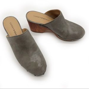 Lucky Brand Yeats Clogs / Taupe Mules, Wood Heels